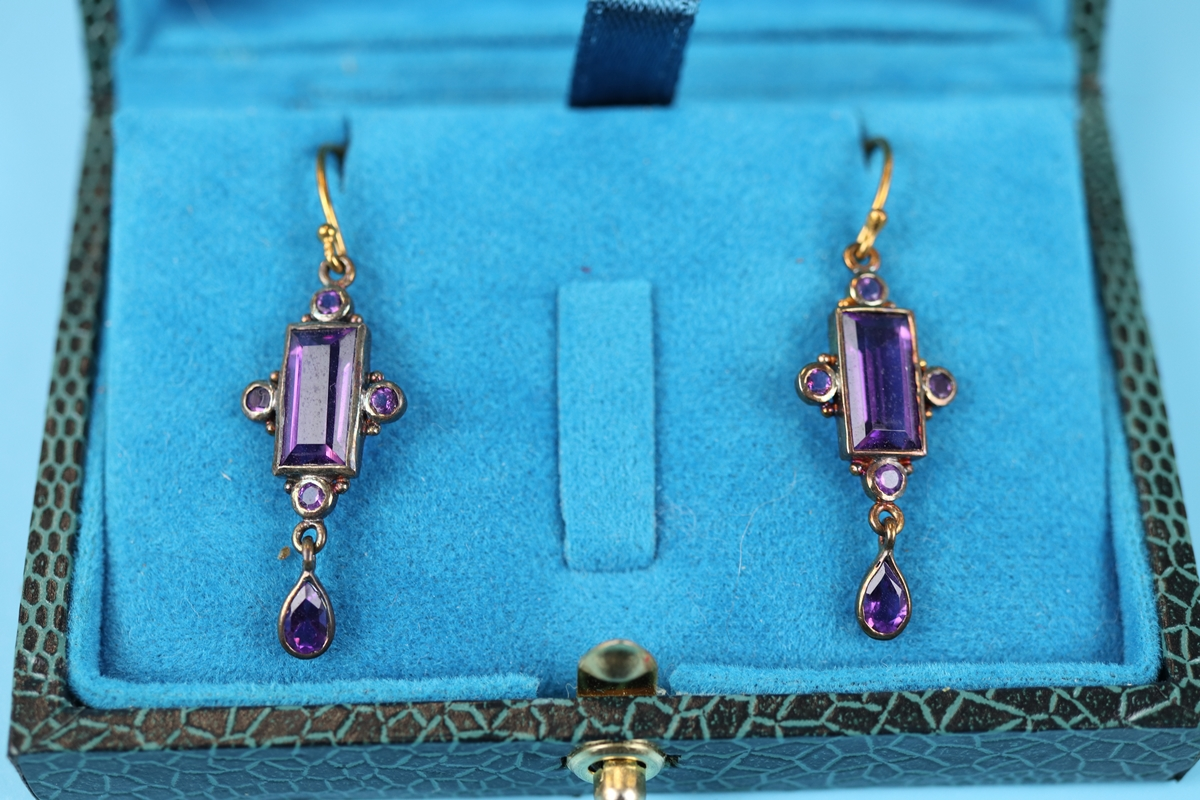 Pair of amethyst drop earrings