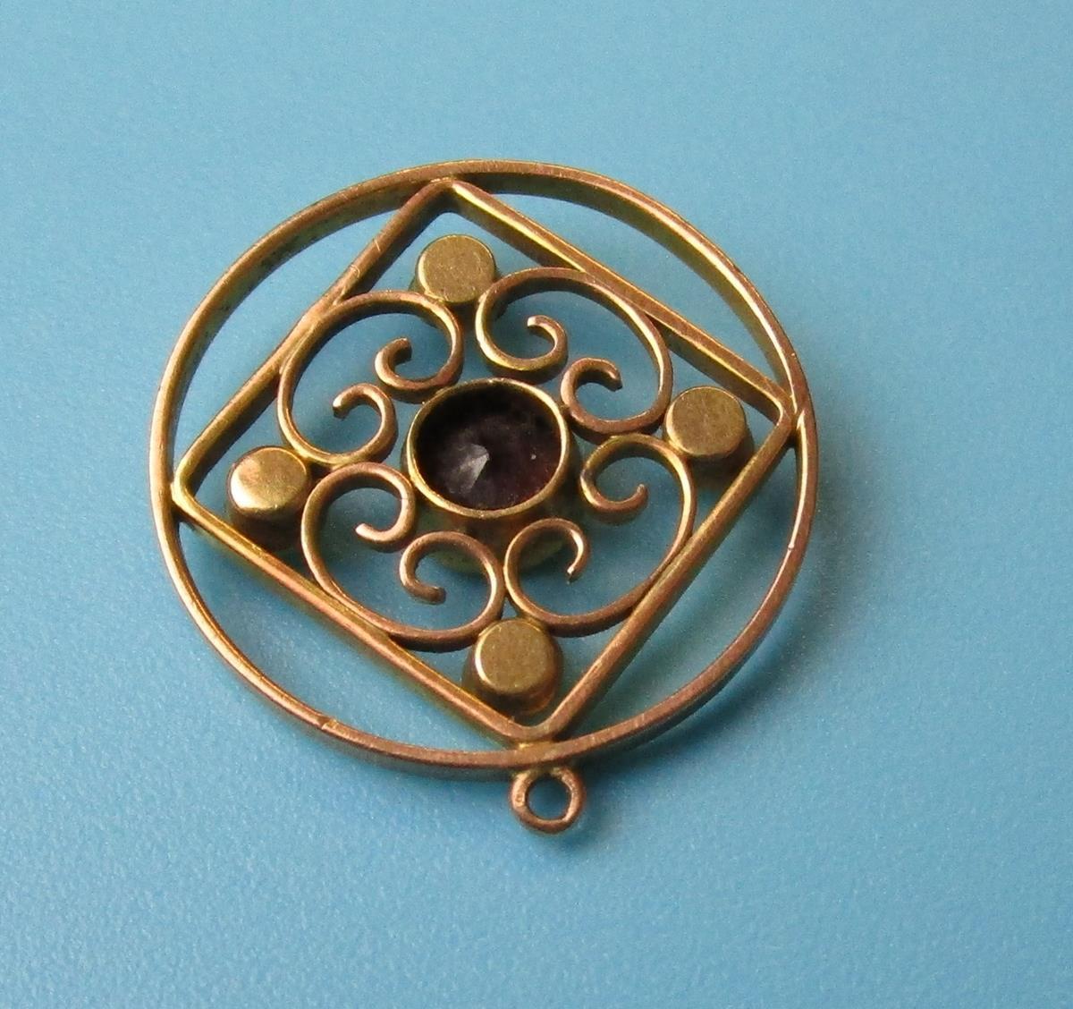 Antique gold garnet & pearl pendant - Image 2 of 3