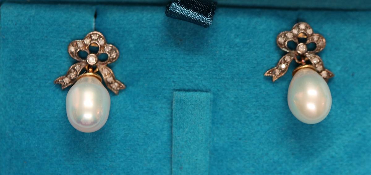 Pair of pearl & diamond bow earrings - Image 2 of 6