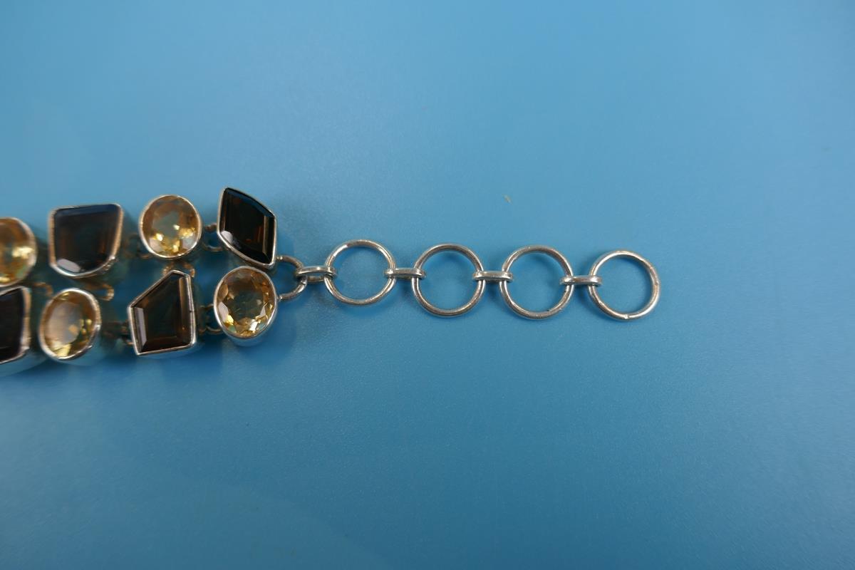 Heavy silver topaz & citrine bracelet - Image 2 of 5
