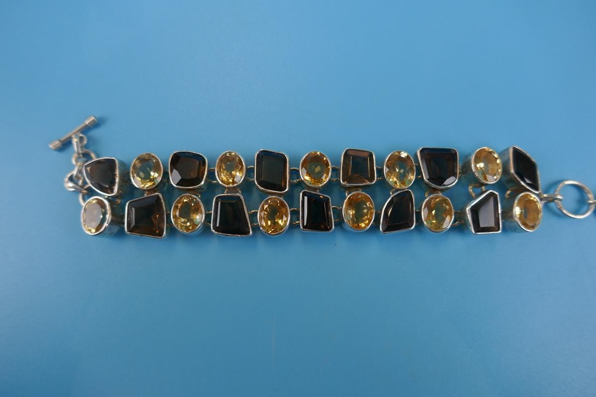 Heavy silver topaz & citrine bracelet - Image 3 of 5