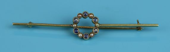 Antique 15ct gold sapphire & pearl bar brooch