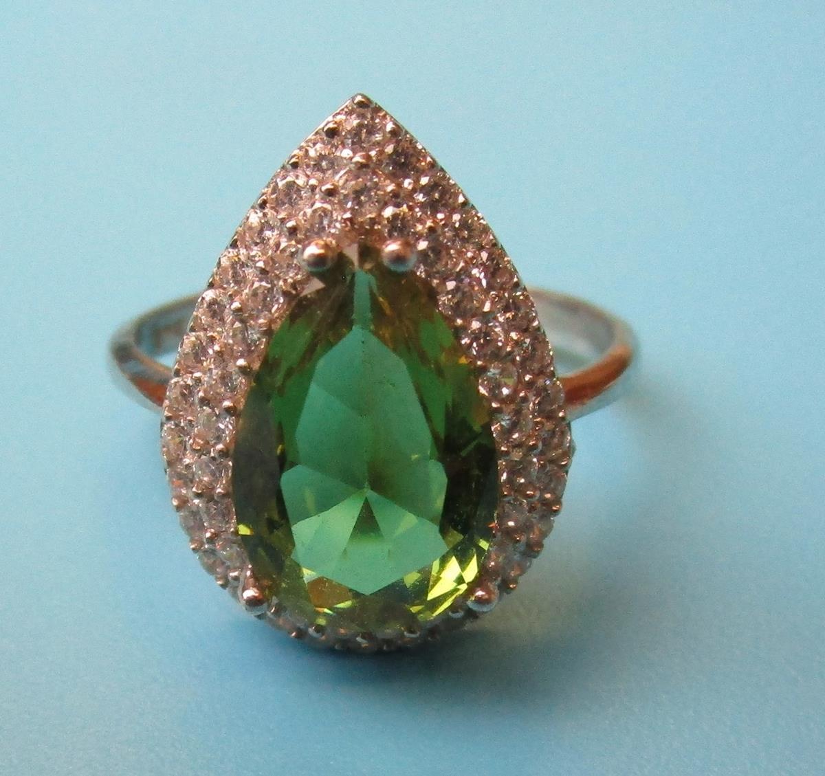 Silver topaz set earrings, pendant & ring - Image 3 of 5