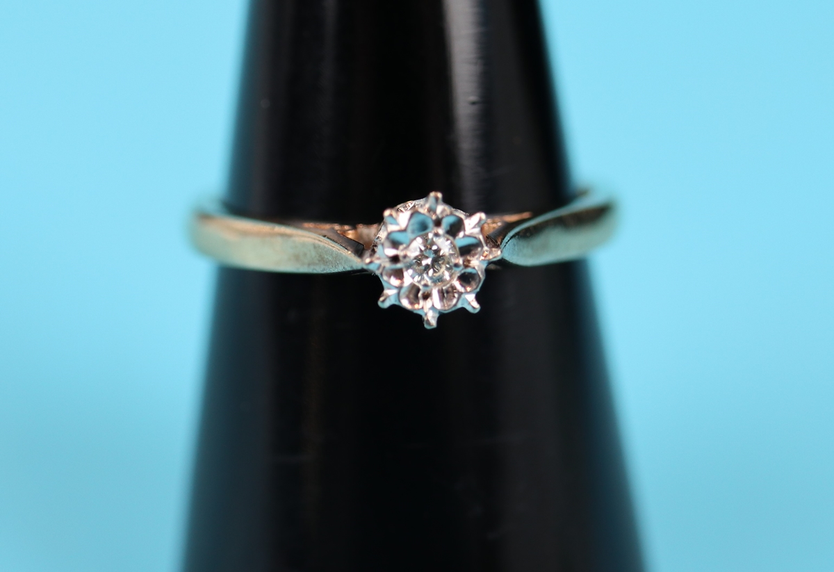 Gold diamond solitaire ring (Size: N)