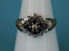 Gold sapphire & diamond cluster ring (Size: M)