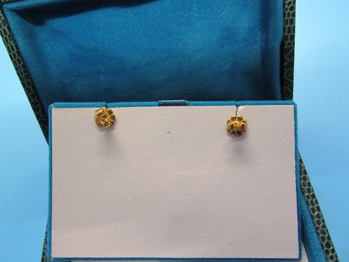 Pair of pearl & diamond bow earrings - Image 5 of 6