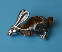 Silver & amber set hare brooch