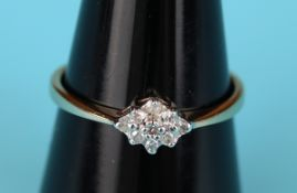 Gold diamond cluster ring (Size: N½)