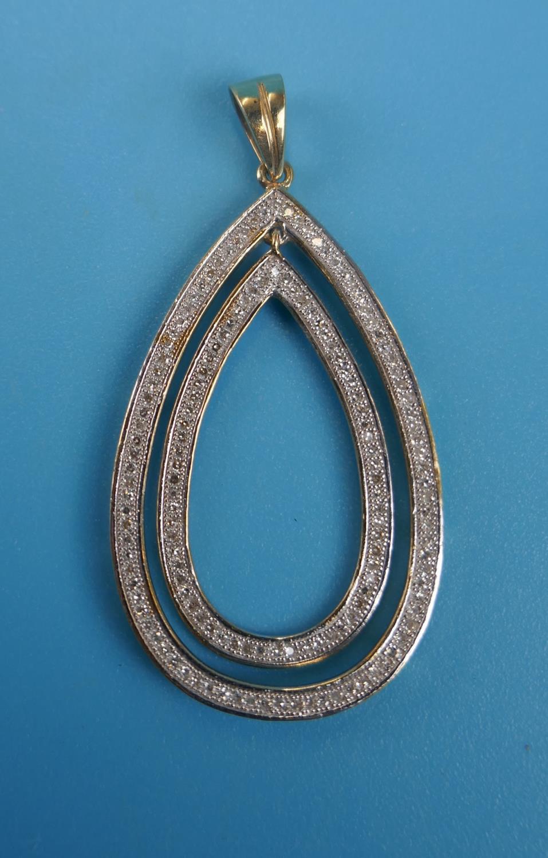 Large gold double tear drop diamond set pendant - Image 2 of 3