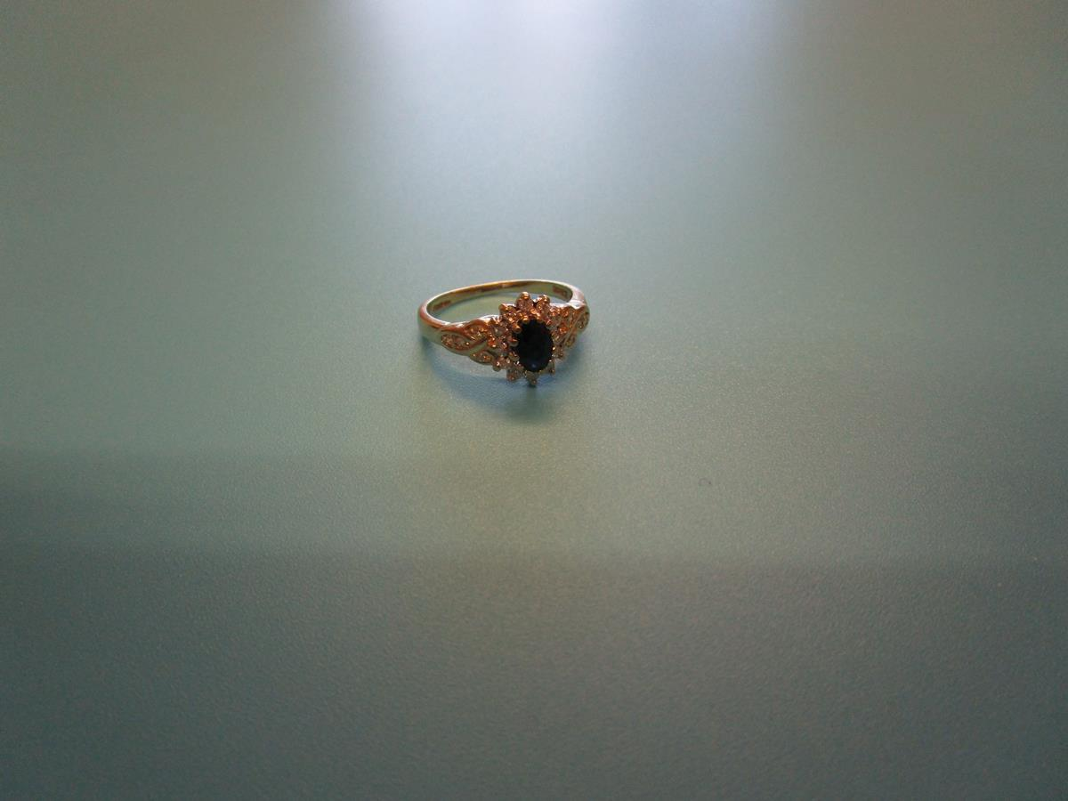 Gold sapphire & diamond cluster ring (Size: N½) - Image 2 of 3