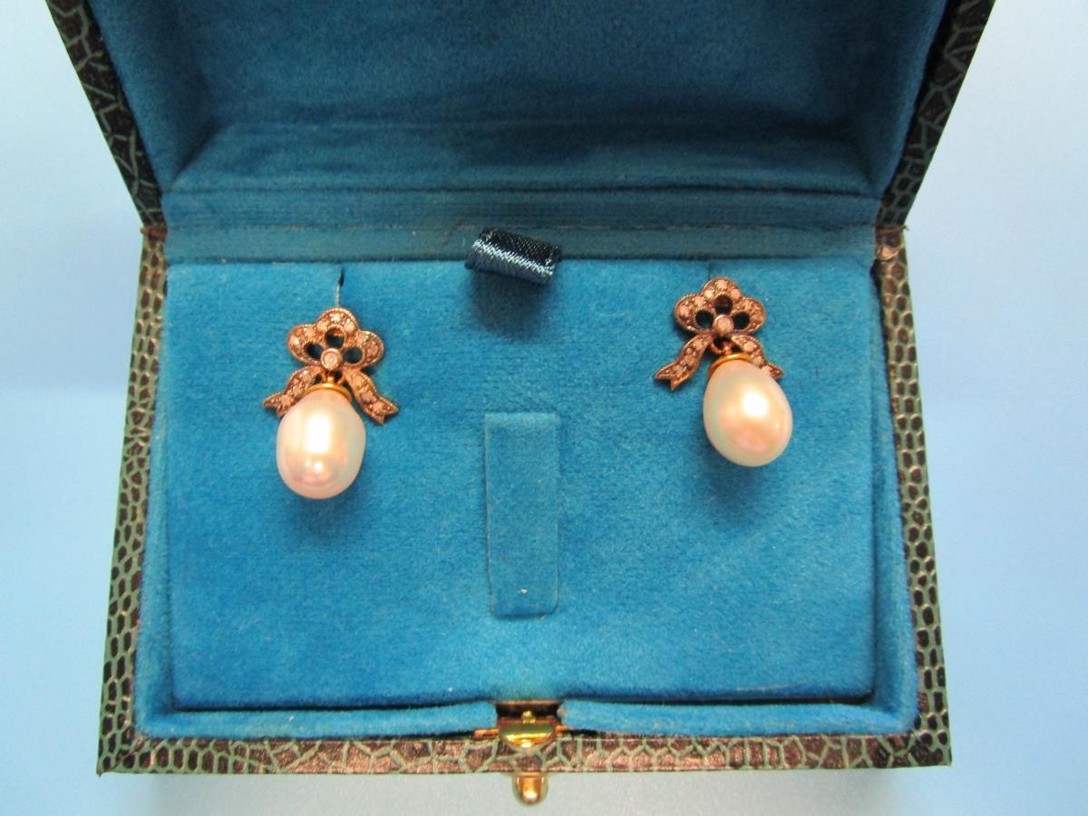 Pair of pearl & diamond bow earrings - Image 4 of 6