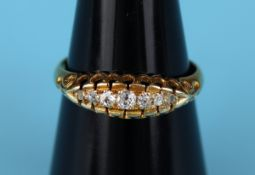 Antique 18ct gold 7 stone diamond ring (Size: L½)