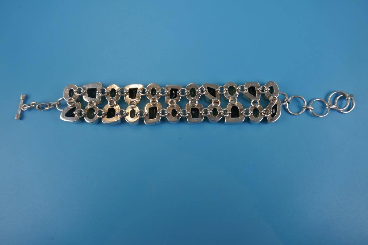 Heavy silver topaz & citrine bracelet - Image 5 of 5