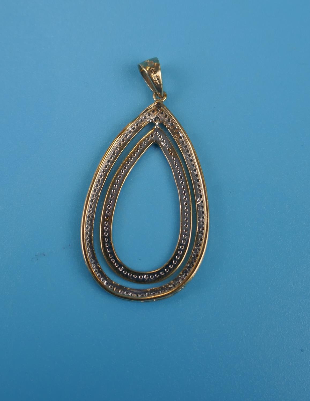 Large gold double tear drop diamond set pendant - Image 3 of 3