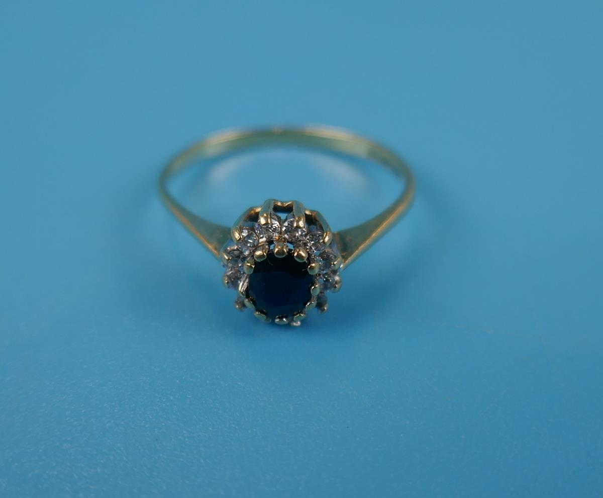 Gold diamond & sapphire cluster ring (Size: N) - Image 2 of 3