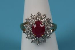 Gold ruby & diamond cluster ring (Size: N)