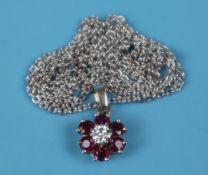 18ct white gold, ruby & diamond pendant on chain