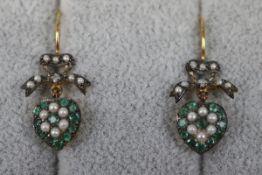 Pair of pearl, emerald & diamond heart shaped earrings