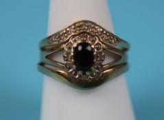 Gold sapphire & diamond triple stacking ring
