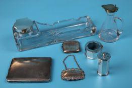 Hallmarked silver cigarette case, vesta case, napkin ring etc - weighable silver approx. 270g