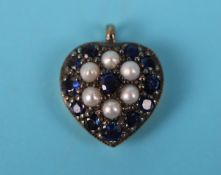 Sapphire & pearl heart pendant
