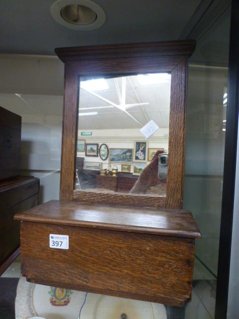 Lot 397 - Am oak hall glove box with mirror