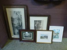 Five framed and glazed prints, to includ