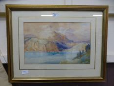 A framed and glazed watercolour of lake