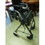 A four wheeled walking aid