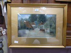 A framed and glazed oil painting of catt