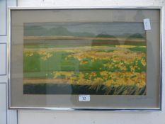 A framed and glazed mixed media art work