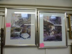 A pair of framed and glazed modern water