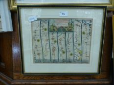 A framed and glazed ribbon map, the road