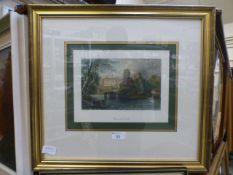 A framed and glazed print of Warwick cas