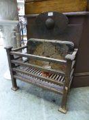 A cast iron fire basket