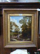 An ornate gilt framed oil on canvass of