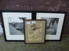 Two framed and glazed black and white ph
