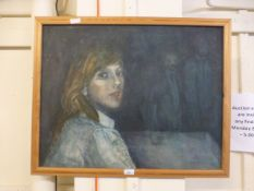 A framed oil on board of lady looking as