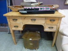 A waxed pine desk