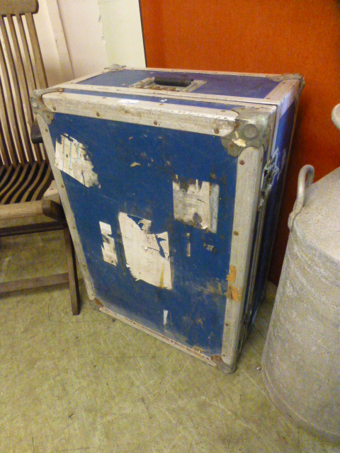 Lot 28 - A blue and metal bound travelling case