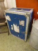 A blue and metal bound travelling case