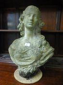 A stoneware bust of a lady