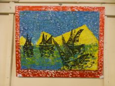 An acrylic on board of sailing vessels