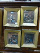 A set of four gilt framed lithographic p