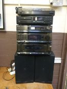 A quantity of Memorex hifi stacking syst