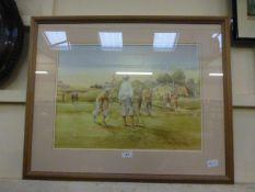 A framed and glazed golf print after Dou