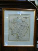 A framed and glazed map of Warwickshire
