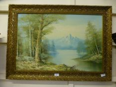 An ornate gilt framed oil on canvas of m