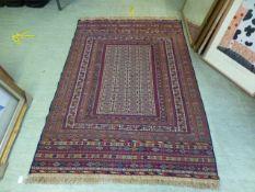 A hand woven Turkish flat woven kilim, t