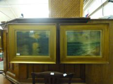 A pair of gilt framed and glazed water c